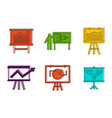 diagram icon set color outline style vector image vector image