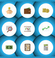 flat icon incoming set of diagram scan growth vector image vector image