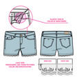 front and back view of women shorts vector image vector image