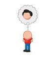 hand-drawn cartoon of bald man standing imagine vector image vector image