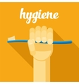 hygiene toothbrush hand with tothbrush flat vector image vector image