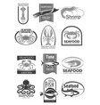 icons for seafood market or fish restaurant vector image vector image