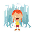 little girl lost in city crying vector image