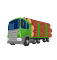 logging truck transporting large logs vector image