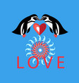 loving penguins with heart on blue background vector image
