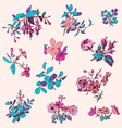 Meadow flower and leaf wreath isolated on pink set vector image vector image