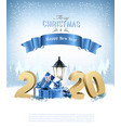 merry christmas background with 2020 and gift vector image vector image