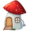mushroom house on white backgroud vector image vector image