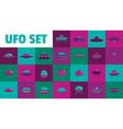 neon ufo set flat style vector image