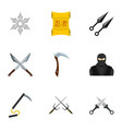 ninja equipment icons set flat style vector image
