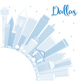 Outline Dallas Skyline with Blue Buildings vector image vector image