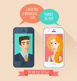 Phone conversation between a man and a woman Flat vector image vector image