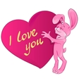 Pink rabbit embraces the heart I love you vector image