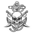 pirate skull with anchor and sabres vector image vector image