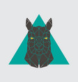 polygonal head of alpaca geometrical farm animal vector image