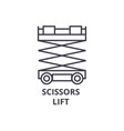 scissors lift line icon sign vector image vector image