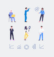 set business people with diagrams flat vector image vector image