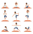 set with young girl in different poses of yoga vector image