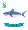 Shark S letter Cute children animal alphabet in vector image