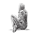 Sketch of woman seating isolated vector image