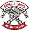 Skull Bones Bike Helmet Ribbon Retro vector image vector image