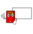 thumbs up with board red passport in the character vector image
