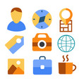 travel set icons flat for design vector image