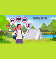 traveler with backpack holding compass gadgets in vector image