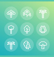 trees line icons set palm fir baobab eucalyptus vector image