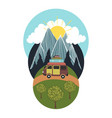 trendy with mountains sun forest clouds and car vector image
