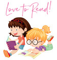two girls reading books vector image vector image