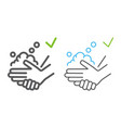 washing hands with soap color line icons wash and vector image vector image
