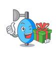 with gift ambu bag mascot cartoon vector image