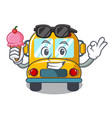 with ice cream school bus character cartoon vector image