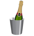 Champagne in ice bucket vector image