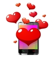 Mobile phone with hearts vector image