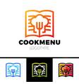 recipe or cooking book logo template design menu vector image
