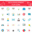 seo and development flat icon set vector image