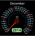2014 year calendar speedometer car in December vector image