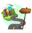 A road going to the city with an arrowboard vector image