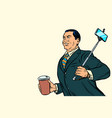 asian businessman with a selfie stick and coffee vector image vector image