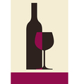 bottle wine and glass vector image vector image