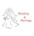 Bride silhouette for marriage and wedding vector image vector image