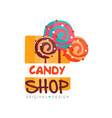 candy hop logo design template sweet store badge vector image vector image