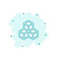 cartoon blockchain technology icon in comic style vector image vector image
