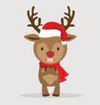 cartoon cute deer with red hat vector image vector image