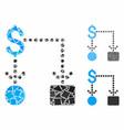 cashflow mosaic icon uneven items vector image vector image
