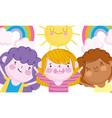 children day happy little boys rainbows and sun vector image vector image