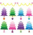 Colorful Christmas Tree set vector image