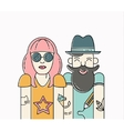 Cool hipster couple vector image vector image